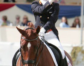 Thumbs up for Adelinde Cornelissen and Parzival after a brilliant Grand Prix ride at the 2009 European Championships :: Photo © Astrid Appels