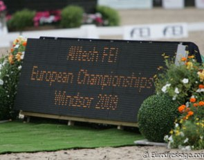 The running scoreboard at the 2009 European Dressage Championships :: Photo © Astrid Appels