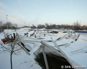 A snow storm struck Belgium days before the CDI-W Mechelen and made all stable tents collapse
