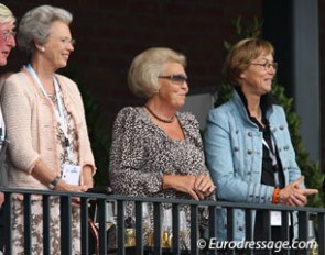 Royalty at the 2011 European Championships: HRH Benedicte of Denmark and Beatrix, Queen of the Netherlands, joined by Tineke Bartels :: Photo © Astrid Appels