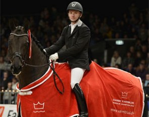 Allan Gron and Zick Flower at the 2013 Danish Warmblood Young Horse Championship in Herning, Denmark