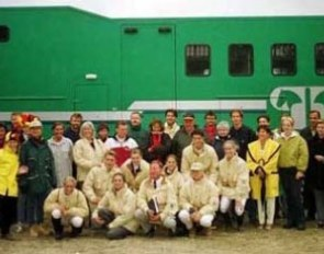 The Belgian Junior and Young Riders Team with trainers and fans at the 1998 European JR/YR Championships in Hickstead