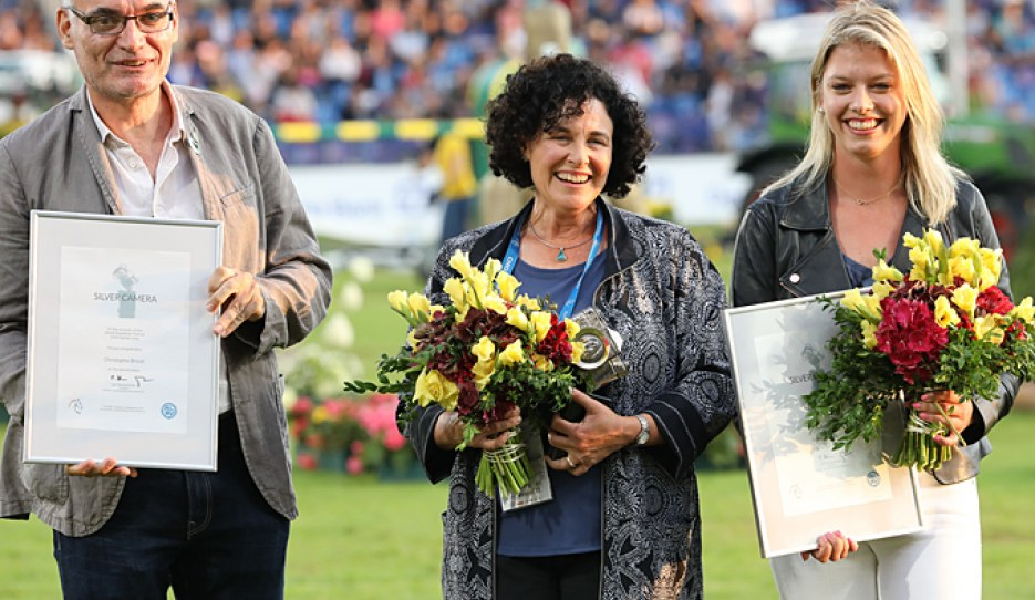 Christophe Bricot (2nd), Terri Miller (1st) and Ashely Neuhaus (3rd) at the 2019 Silver Camera Award ceremony in Aachen