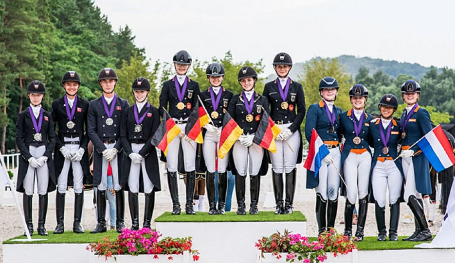 Denmark - Germany - The Netherlands on the podium at the 2020 European Junior Riders Championships :: Photo © Lukasz Kowalski
