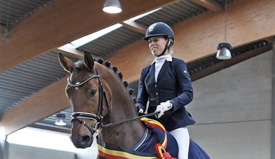 German Andrea Müller-Kersten and the Belgian owned Belaggio were triple Belgian Young Horse Champions in 2016, 2017 and 2018 in Gesves :: Photo © Nathalie Geerlandt