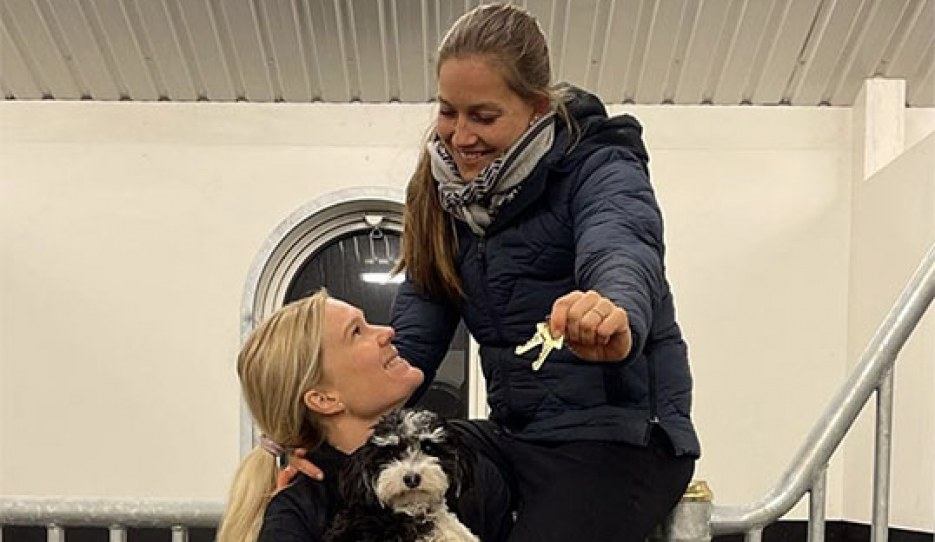Cathrine Dufour and Rasmine Laudrup received the keys to their new yard in Fredensborg, Denmark.
