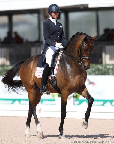 Megan Lane on her third Grand Prix ride, Zodiac MW (by Rousseau)