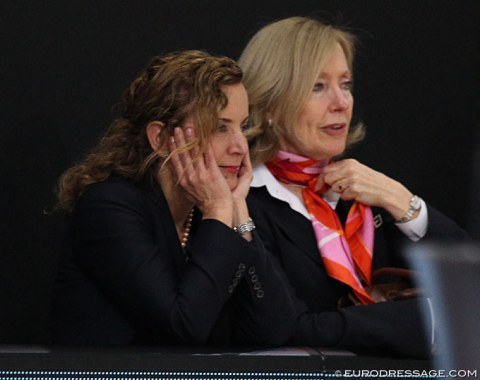 FEI power ladies Sabrina Ibanez (secretary general) and Grania Willis (head of Pr) watch the Grand Prix
