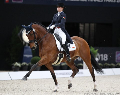 Hanna Karasiova had to leave an injured Arlekino home, which she qualified for the World Cup Finals, and brought her second GP horse along. The 10-year old Zodiak (Zidane Velvet x Arulis) did a lovely job in the limelight