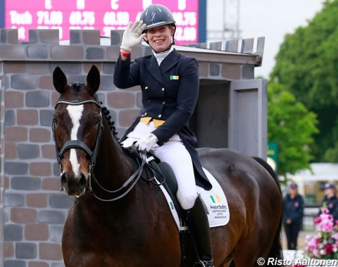 Kate Dwyer and Snowdon Faberge achieve their WEG qualification score in Windsor