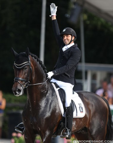 Andreas Helgstrand celebrates his third gold medal at the World Young Horse Championships