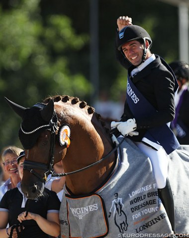 Severo Jurado Lopez scores his fourth, consecutive gold medal at the World Young Horse Championships