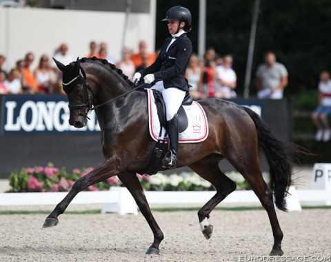 Selina Solberg Vittinghus on Atterupgaards Delorean (by Bon Bravour x Sandro Hit). This mare is very expressive in trot with her engaged hind leg but she was not always crystal clear in the regularity. In canter she could be more uphill.