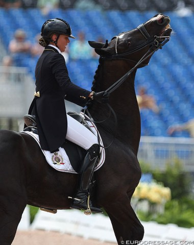 Belgian team rookie Isabel Cool and her young Grand Prix horse Aranco V has some communication errors and retired