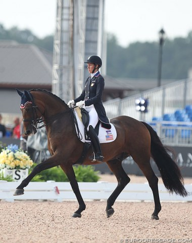 U.S. WEG team reserve Olivia Lagoy-Weltz and Rassing's Lonoir were the guinea pigs today in the Grand Prix