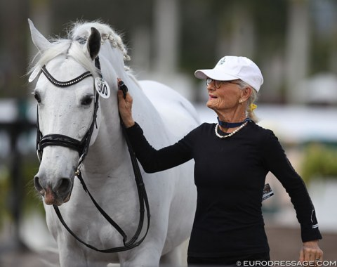 Fit as a fiddle: 75-year old Janne Rumbough competing Armas Zumbel in the amateur Grand Prix classes