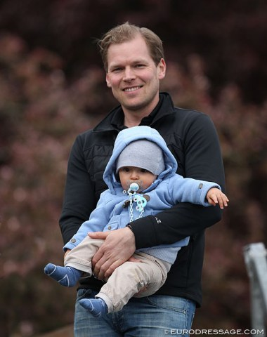 Senta Kirchhoff's partner, Finnish Grand Prix rider Henri Ruoste, with their baby NIcolas