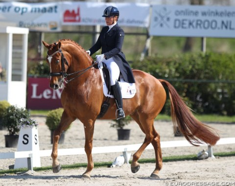 Christa Larmoyeur and Aston Martin NL. Their path is like the walk to Santiago de Compostella. The 14-year old KWPN gelding by Uphill x Cabochon lost an eye and then sustained a career ending injury, but made a miraculous recovery and they are now back at international Grand Prix level.