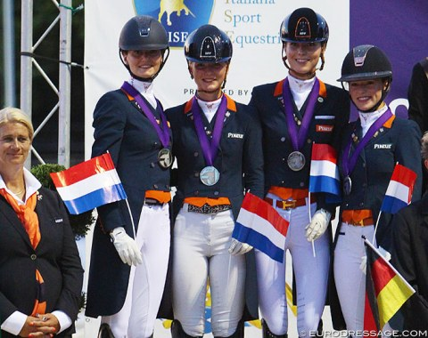 The silver medal winning Dutch team with Thalia Rockx, Kimberly Pap, Daphne van Peperstraten, and Esmee Donkers