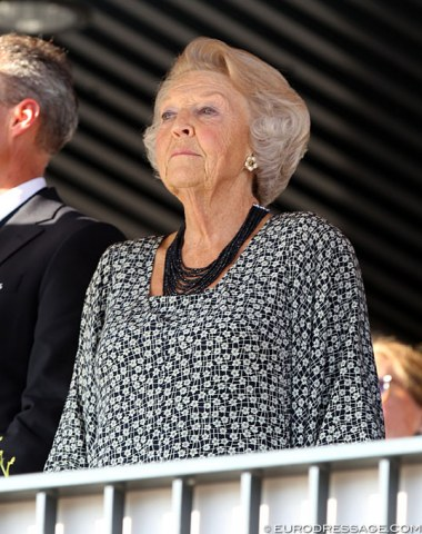 Her Royal Highness Princess Beatrix was Queen of the Netherlands for 33 years, from 1980 to 2013. She also attended the 2011 European Championships in Rotterdam