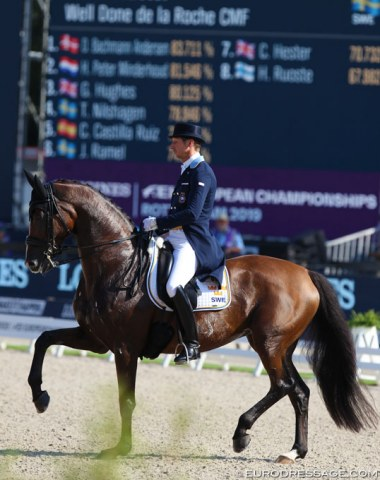 Patrik Kittel and Well Done de la Roche. The mare was on best form in the Grand Prix. In the Special she was too tense and also in the Kur she remained on edge, but Kittel rode her to an 82.296% score