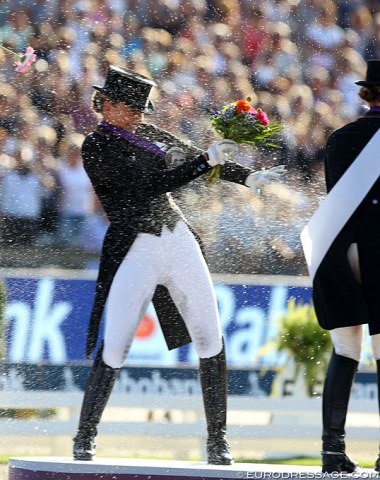 Champagne shower for Dorothee Schneider