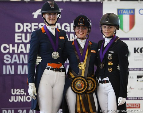 The Short Grand Prix podium: Denise Nekeman, Jeanine Nieuwenhuis, Jil Marielle Becks