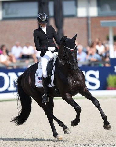 German based Australian Simone Pearce on Gestut Sprehe's talented stallion Marc Cain (by Millennium x Don Primero).