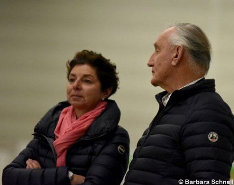 Current and former German team trainers, Monica Theodorescu and Klaus Balkenhol