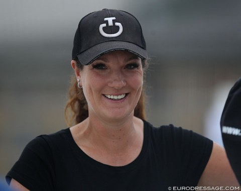 Belgian FEI rider Cindy Schuurmans at the horse inspection