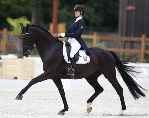 Nice riding from German pair Greta Simon and Sir Henry. Pity the horse underwhelms in walk
