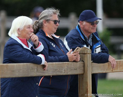 Elly and Martha Zuiderent of Stal Sintels watching Manouk ride her first CDI in the children's division