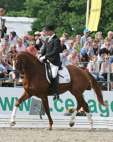 German based Portuguese rider Helder Carvalho on Herbert Kruse's 3-year old Hanoverian stallion Chapeau Claque (by Connery x Davignon). This horse vanished after competing at the 2005 Hanoverian Young horse champs in Verden