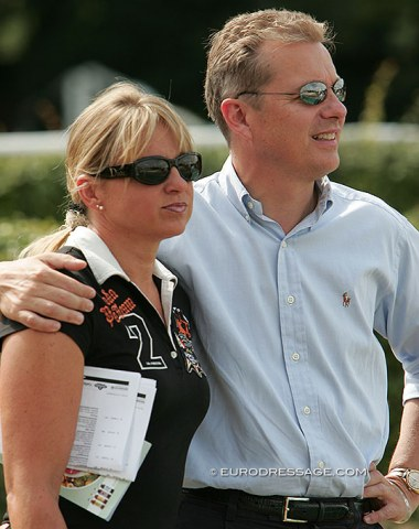 Dorothee Schneider and her husband Jobst Krumhoff watching the 2008 World Young Horse Championships