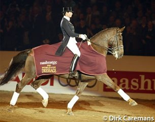 Salzgeber and Rusty doing her lap of honour