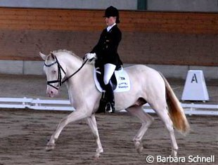 Placing second in the 5-year old dressage pony test: Louisa Luttgen and Pegasus B, a son of her own Pan Tau B.
