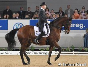 Hubertus Schmidt and his student Anna Paprocka-Campanella's Hanoverian gelding Andretti, a new pair, that showed beautiful piaffes