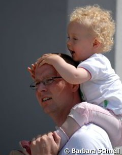 Danish Olympic team reserve member Anders Dahl with his one year old daughter Mette Clare