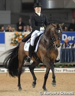 Isabell Werth's Australian working student Haylee Beresford and the Brazilian bred Lusitano stallion Relampago do Retiro