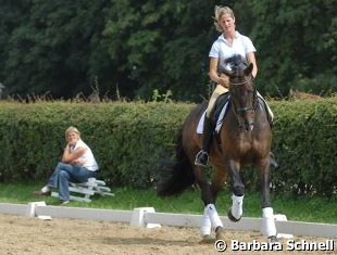 Marion Engelen training Diego while Marion's mom is watching
