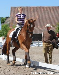 Nadine Capellmann and Elvis getting coached by Klaus Balkenhol
