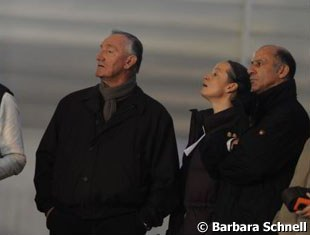 Klaus Balkenhol watching Nadine Capellmann's ride on Elvis with Isabell Werth and Jonny Hilberath