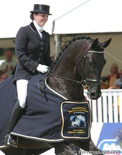 Emmelie Scholtens and Westpoint won the first round at the 2009 World Championships for Young Dressage Horses :: Photo © Astrid Appels