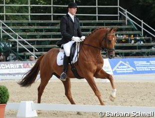 Matthias Bouten on Bailey (by Breitling). This horse is bred by Isabell Werth's father.