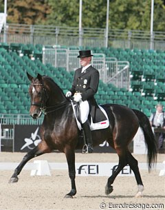 Austrian Hannes Mayr on his own bred Austrian warmblood mare Ellis (by Grunstein II x Benjamin)