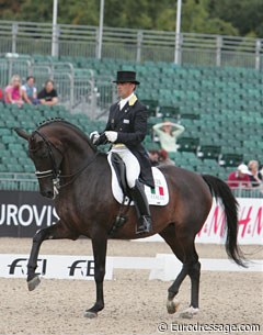 "Italian Pierluigi ""Piero"" Sangiorgi aboard Flourian. What a lovely piaffe and passage does this horse have, but he didn't quite get the scores for it at the 2009 European Championships."