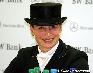 Isabell Werth at the press conference after her victory in the Grand Prix Kur at the 2010 CDI Stuttgart