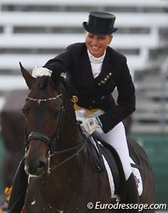 Susan de Klein (from the Dutch Antilles but living in Germany) rode the 10-year old Trakehner Prins. They got 66.511%