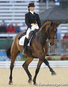 Swedish Minna Telde was the first rider to go on Monday. She rode the Danish mare Larina Hom to 68.000%