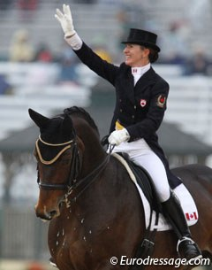 Canadian Belinda Trussell and Anton were on form. The horse looked fresher and more engaged than he was during their European stint. The piaffe and passage work was outstanding. Unfortunately there was a mistake in the one tempi's. They got 69.021%